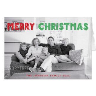 カスタムで赤い緑のメリークリスマスの挨拶状 グリーティングカード