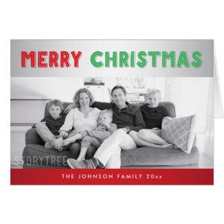 カスタムで赤い銀製のメリークリスマスの挨拶状 カード
