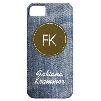 カスタムで青いデニムのジーンズの生地の質 iPhone SE/5/5s ケース