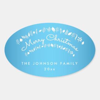 カスタムで青いメリークリスマスの楕円形のステッカー 楕円形シール