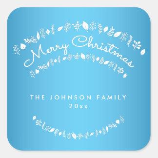 カスタムで青いメリークリスマスの正方形のステッカー スクエアシール