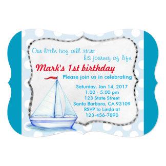 カスタムで青い船の第1誕生日の招待状カード 12.7 X 17.8 インビテーションカード