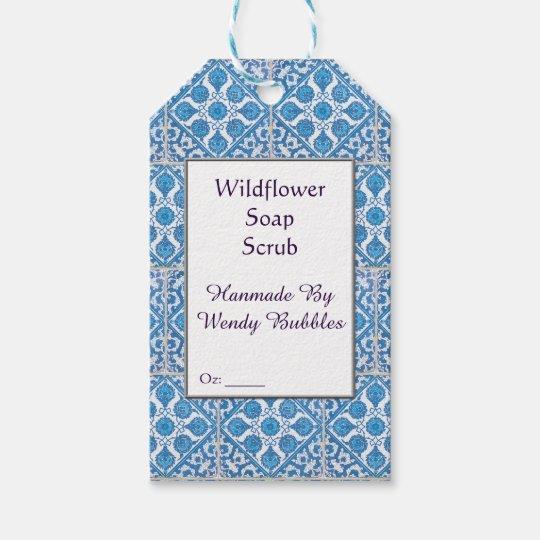 カスタムで青く白く模造のなヤグルマギクのタイルの石鹸のラベル ギフトタグ