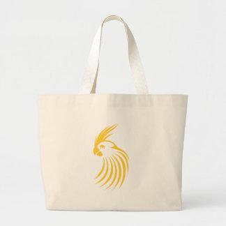 カスタムで黄色いCockatielのロゴ ラージトートバッグ