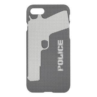 カスタムで黒いおよび灰色カーボン繊維の警察は撃ちます iPhone 8/7 ケース