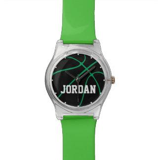 カスタムで黒い及び緑のバスケットボール選手の子供の腕時計 腕時計