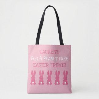 カスタムなアレルギーの子供のイースターのウサギはピンクを扱います トートバッグ