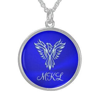 カスタムなイニシャル、フェニックスの氷青い上昇の紋章 スターリングシルバーネックレス