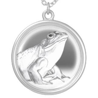 カスタムなカエルの芸術のネックレスの牛蛙のチャームのネックレス シルバープレートネックレス