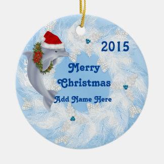 カスタムなクリスマスのイルカのオーナメントのギフト セラミックオーナメント