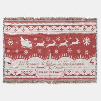 カスタムなクリスマスのサンタのそりのブランケット スローブランケット