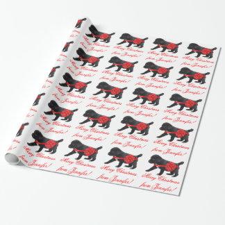 カスタムなクリスマスの包装紙のかわいい子犬 ラッピングペーパー