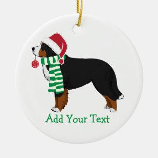 カスタムなクリスマスのBernese山の休日犬 セラミックオーナメント