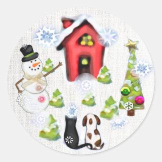 カスタムなクリスマス犬及び猫のギフトのラベルのステッカー ラウンドシール