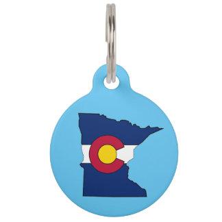 カスタムなコロラド州の旗のミネソタの輪郭ペットIDのラベル ペット ネームタグ