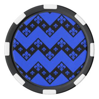 カスタムなシェブロン1つの青 ポーカーチップ