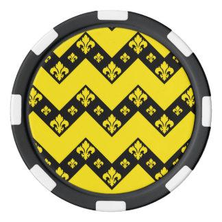 カスタムなシェブロン1つの黄色 ポーカーチップ