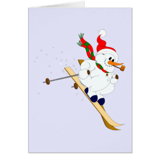 カスタムなスキーの雪だるま カード