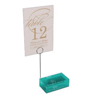 カスタムなターコイズのビーチ結婚式のテーブルの帯出登録者 テーブルカードホルダー