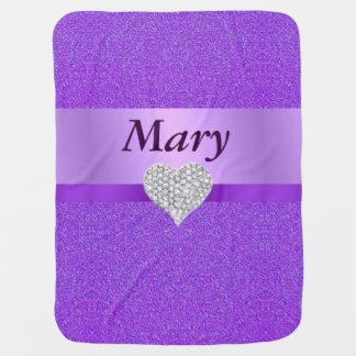 カスタムなダイヤモンドのハートの紫色のグリッターのベビーブランケット ベビー ブランケット