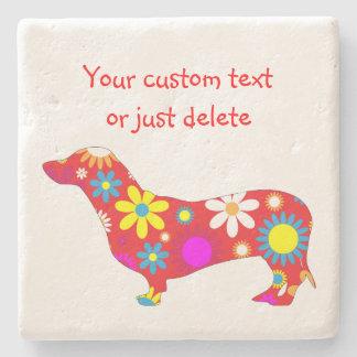 カスタムなダックスフント犬のファンキーな花のレトロの花 ストーンコースター
