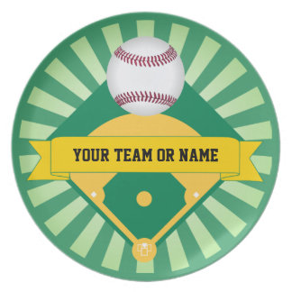カスタムなチーム名前の緑の野球場 皿
