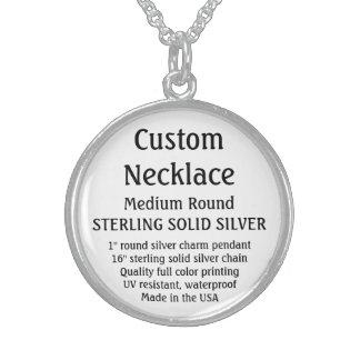 カスタムなネックレス-無地のな銀、円形媒体 スターリングシルバーネックレス