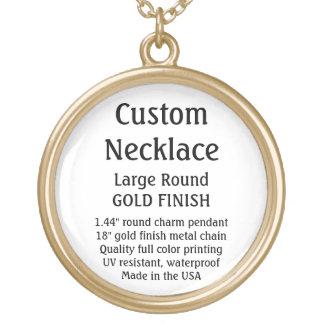カスタムなネックレス-金ゴールドの終わり、大きい円形 ゴールドプレートネックレス