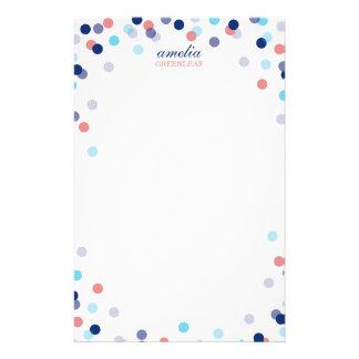 カスタムなノートのかわいく明るい紙吹雪の濃紺の珊瑚 便箋
