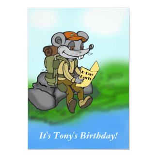 カスタムなハイキングのマウスの誕生日のパーティの招待状 カード