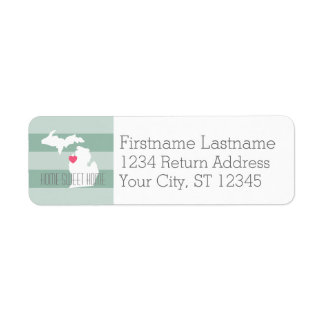 カスタムなハートのミシガン州の地図の故郷の州愛 返信用宛名ラベル