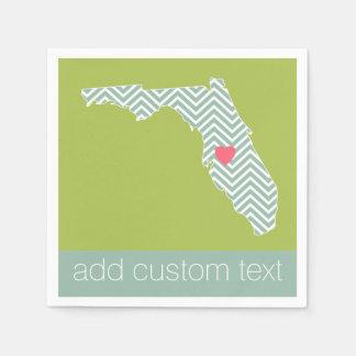 カスタムなハート及び文字が付いているフロリダの州の地図の輪郭 スタンダードカクテルナプキン