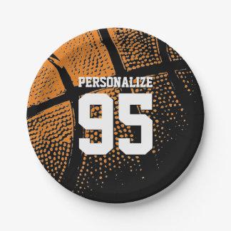 カスタムなバスケットボールの誕生会の紙皿 ペーパープレート