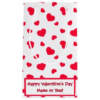 カスタムなバレンタインデーの赤と白のハート スモールペーパーバッグ