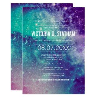 カスタムなパステル調の銀河系のバルミツワーのパーティーの招待 カード