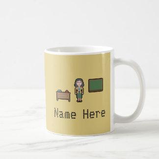 カスタムなピクセル女性先生 コーヒーマグカップ