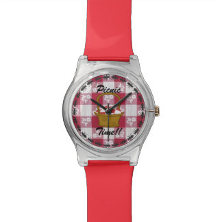 カスタムなピクニックバスケットの時間黒の蟻の名前の腕時計 腕時計
