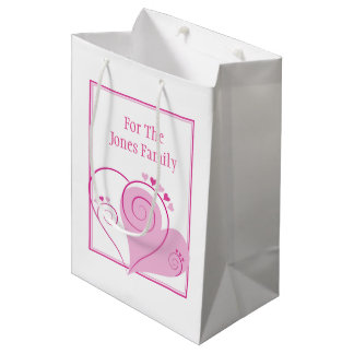 カスタムなピンクのハートのギフトバッグ ミディアムペーパーバッグ
