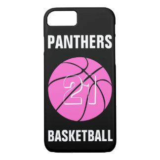 カスタムなピンクのバスケットボール数及びチーム電話箱 iPhone 8/7ケース