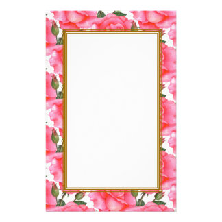カスタムなピンクのバラの花柄の芸術 便箋