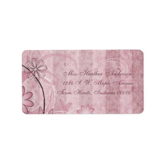 カスタムなピンクの花の結婚式の宛名ラベル ラベル