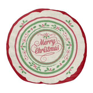 カスタムなメリークリスマスのリネン一見のラウンドパフ プーフ