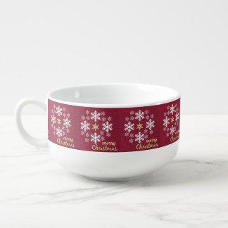 カスタムなメリークリスマスの雪片スープマグ スープマグ