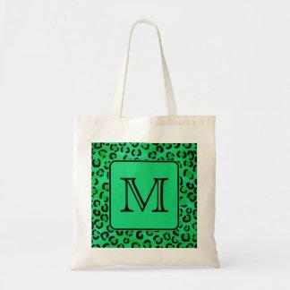 カスタムなモノグラムが付いている緑のヒョウのプリント トートバッグ