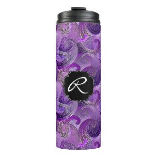 カスタムなモノグラムとの紫色のペイズリー タンブラー