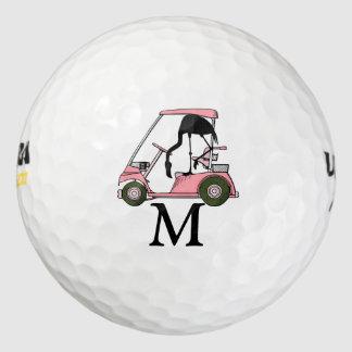 カスタムなモノグラムのおもしろいなGolfcartのフラミンゴ ゴルフボール