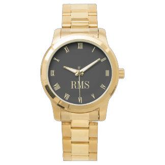 カスタムなモノグラムのイニシャルの豪華な金ゴールドのブレスレットの腕時計 腕時計