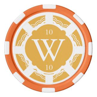 カスタムなモノグラムのオレンジおよび白いポーカー用のチップ ポーカーチップ