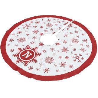 カスタムなモノグラムのクリスマスツリーのスカート-雪片 ブラッシュドポリエステルツリースカート