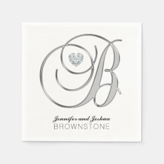 カスタムなモノグラムの手紙Bの銀製の白い結婚式 スタンダードカクテルナプキン
